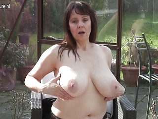 Amateur granny take big Bristols and hungry cunt