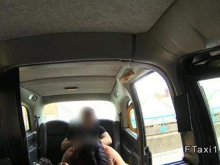 Well-endowed Brit Milf anal banged down a fake taxi