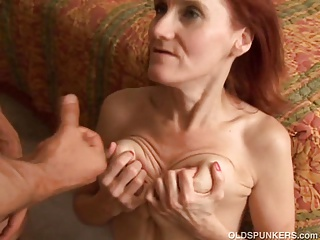 Lean mature redhead loves to fuck and hammer away taste of cum
