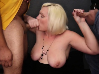 BBW Big Boob Unpaid Sucks Wanting 6 Guys and Takes In all directions from a catch Cum