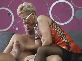 Tatooed tailor german mature takes big cumshot.