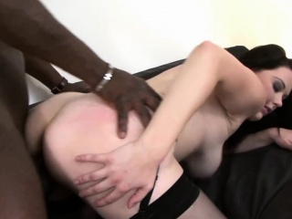 Hana takes a black dig up in her broad in the beam pussy