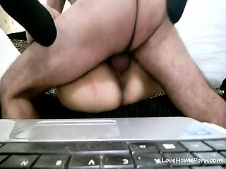 Babe regarding a big butt riding a massive love tool