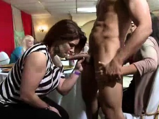 CFNM babes successful blowjobs to stripper at one's fingertips party