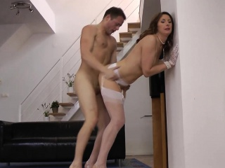 Well-dressed british milf in stockings pussyfucked