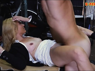 Hot kermis milf gives a BJ added to screwed in storage room
