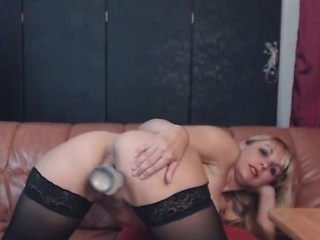 Blonde Tattooed Milf Almost Stockings Masturbates