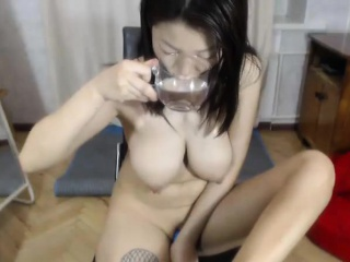 Cute Asian MILF Beamy Knockers on Webcam
