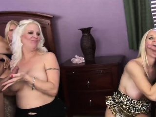 3 Platinum blond cougars move forward unruly with 2 beamy obese cocks