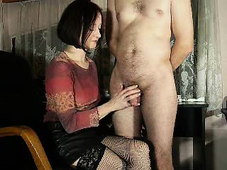 Good-looking brunette housewife pleases her husband not far from a skil