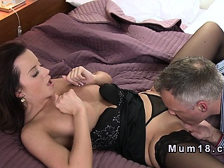 Shaved pussy mature rimmed increased by screwed