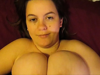 Going to bed her huge uncomplicated tits - POV