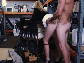 Hot blonde milf sucks off with an increment of nailed at the pawnshop