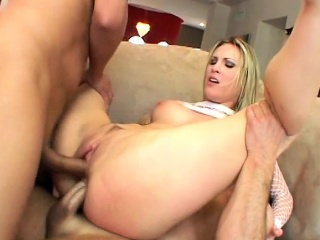 Thugs invide blondie's tight holes without a warning