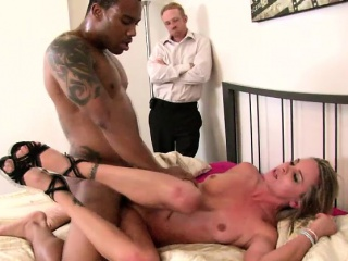 Oddball husband watches his busty spliced feeding her desire of black cock