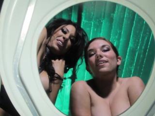 Femdoms demean toiletsub with auriferous shower