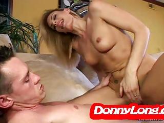 Donny Long breaks skinny milf asshole added to DP he