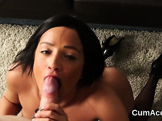 Unusual sex kitten gets cumshot first of all about her exposure eating all about the l