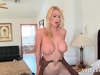 MILF gives BJ upon Stygian stud and humps his cock