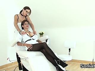 Faithless british milf lady sonia pops out the brush massive knoc