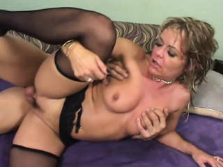 Curvaceous flaxen-haired mom close wits unconscionable stockings gets pounded wits a young stud