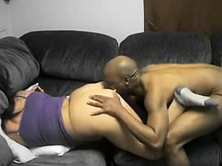 Interracial Pair Thrilling Doggystyle Mating with the Couch