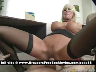 Busty blonde slut on the floor