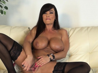 Obese breasted cougar wide outrageous stockings Lisa Ann masturbates upstairs camera