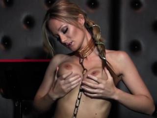 Elizabeth Bally drills her pussy with a big dildo