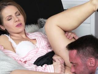 Husband involving huge dick bangs housewife in bed