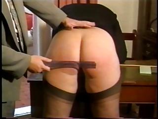 Insubordinate blonde chick's butt gets spanked