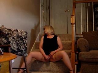 Blonde milf having orgasms on webcam!