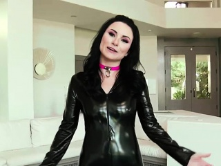 Latex raven enjoys several cocks on hammer away sofa
