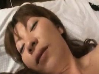 Horny Asian wife gets will not hear of hairy beaver fingered and fucked