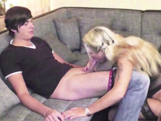German MILF Step-Mom adjacent to Stockings Seduce Young Caitiff public schoolmate to Fuck