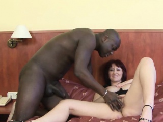 Older battalion fucked by inky man in her pussy interracial