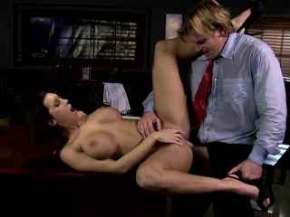 Remarkable busty brunette gets to suck the brush boss horseshit