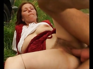 Hairy grown-up Dana fucked into the open air