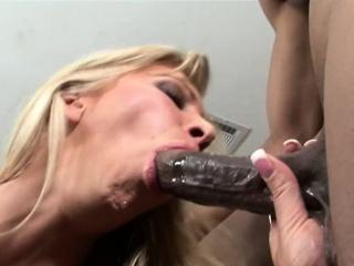 Hungry cougar deep throats black dick like a bitch