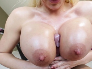 Tittyfucked milf sucks and gets creamed pov