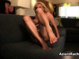 Busty blonde milf goes crazy dildo