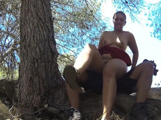 Brunette milf fucks flatfoot outdoors