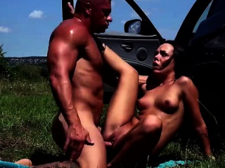 Stranded Angelina flashes her pussy