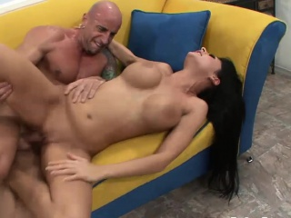 Busty Alison bounces on a fat bank