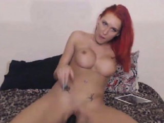 Fabulous redhead milf riding dildo on the top of webcam