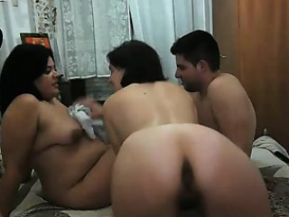Obese Boobed Rabble in Stockings Have Organize Lovemaking Game