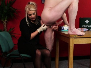 Dominating milf sucking with an increment of jerking thither cfnm
