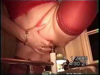 Swedish wife riding 3 inch wide bedpost
