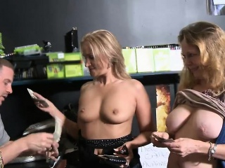 Blonde cougars flashed their nice jugs be required of some money
