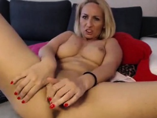 Sexy blonde milf at home stripteasing with an increment of masturbating say no to p